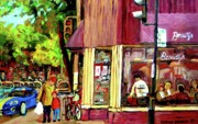 Jewish Montreal Paintings - Beautys Luncheonette Montreal Diner by Carole Spandau