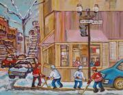 Hockey In Montreal Painting Framed Prints - Beautys Restaurant  Framed Print by Carole Spandau