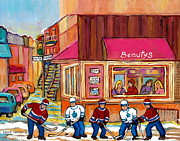 Kids Playing Hockey Paintings - Beautys Restaurant-montreal Street Scene Painting-hockey Game-hockeyart by Carole Spandau