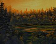 Beaver Pond Paintings - Beaver Pond at Sunset by Rebecca  Fitchett