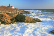 Ocean Waves Photos - Beavertail Point and Lighthouse  by Roupen  Baker
