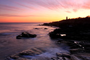 Rhode Island Photos - Beavertail State Park Bluffs and Lighthouse at Sunset by John Burk