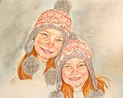 Sisters Drawings - Becca And Riley by Sandra Valentini