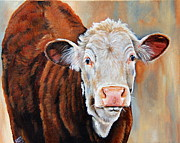 Cows Paintings - Becca by Laura Carey