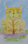 Cat Images Paintings - Beccas Cat by Robert Decker