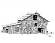 Drawings Of Barns Framed Prints - Becks Dairy Framed Print by Donald Black