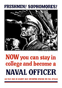 Propaganda Mixed Media Framed Prints - Become A Naval Officer Framed Print by War Is Hell Store