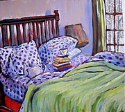 Tilly Strauss Paintings - Bed And Books by Tilly Strauss