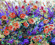 Modern Impressionist Posters - Bed of Flowers Poster by Ginette Callaway
