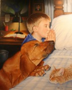 Prayer Painting Originals - Bed Time Prayers by Mike Ivey