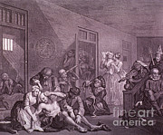 Hogarth Prints - Bedlam, Engraving By Hogarth Print by Science Source