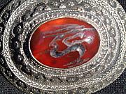 Antique Jewelry - Bedouin silver pendant with inset carnelian stone decorated with an intaglio gazelle by Anonymous Bedouin silversmith