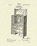 Drawers Drawings Posters - Bedroom Cabinet Design 1907 Patent Art Poster by Prior Art Design