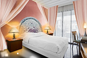 Hotel-room Prints - Bedroom Interior Print by Setsiri Silapasuwanchai