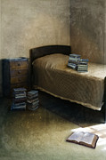 Dreary Posters - Bedroom with Piles of Books Poster by Jill Battaglia