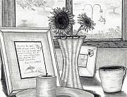 Coffee Mug Drawings Prints - Bedside View Print by Joy Neasley