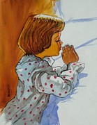 Child Praying Paintings - Bedtime Prayer by Frank Bolock