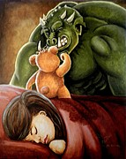 Monsters Paintings - Bedtime Protector by Al  Molina