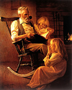 Family Time Painting Framed Prints - Bedtime Stories Framed Print by Greg Olsen