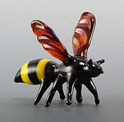 Insect Glass Art - Bee 1 by Rosanne Wellmaker