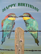 Pair Mixed Media Framed Prints - Bee Eaters Happy Birthday Framed Print by Eric Kempson