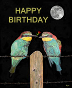 Asia Mixed Media Acrylic Prints - Bee Eaters with roseHAPPY BIRTHDAY Acrylic Print by Eric Kempson