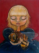 Pop Surrealism Paintings - Bee Girl by Lynn Dobbins