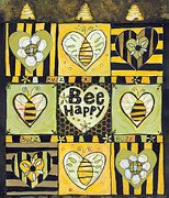 Drawn Framed Prints - Bee Happy Framed Print by Jen Norton