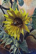 Egg Tempera Pastels Prints - Bee in a Bonnet Print by Peter Muzyka