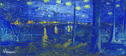 Vangogh Originals - Beech Trees in a Late Autumn - Vincent Van Gogh combined with Starry Night over the Rhone by Vincent Van Gogh