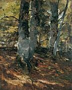 Autumn Landscape Painting Framed Prints - Beechwoods at Polling Bavaria Framed Print by Frank Duveneck