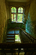 Ruinous Prints - Beelitz stairs Print by Nathan Wright