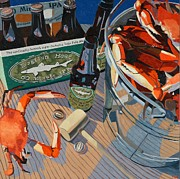 Blue Red And White Posters - Beer and Crabs Number One Poster by Christopher Mize