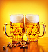 Beer Photos - Beer and nuts by Anna Omelchenko