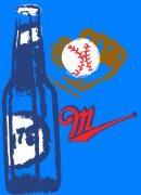 Baseball Digital Art Originals - Beer Ball by Timothy Winiarski