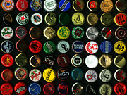 Bottle Cap Posters - Beer Bottle Caps . 9 to 12 Proportion Poster by Wingsdomain Art and Photography