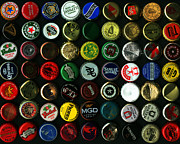 Beer Bottle Posters - Beer Bottle Caps . 8 to 10 Proportion Poster by Wingsdomain Art and Photography