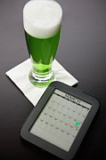 Digital Tablet Prints - Beer Mug With Green Beer And Tablet Print by Vstock LLC