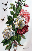 Bees Paintings - Bees and Roses by Bob Crawford