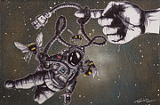 Outer Space Drawings Metal Prints - Bees Dont Accept the Limitations of Physics Metal Print by Iosua Tai Taeoalii