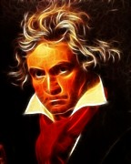 Classical Music Framed Prints - Beethoven Framed Print by Pamela Johnson