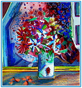 Floral Still Life Mixed Media Prints - Beetle and Flowers Print by Mindy Newman