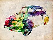 Urban Watercolor Digital Art Metal Prints - Beetle Urban Art Metal Print by Michael Tompsett