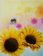 Airbrush Posters - BEEutifull Sun Flowers Poster by Mike Royal