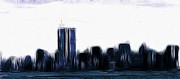 New York Skyline Paintings - Before 9 11 by Stefan Kuhn