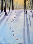 Deer Pastels Posters - Before Dusk in Deep Snow Poster by Christine Kane