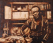 On Wood Pyrography Pyrography - Before Jazz I was a Dj by Marlon Ivory