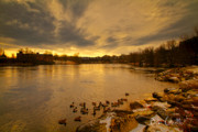 Serene Prints - Before Sunrise Lewiston - Auburn Maine Print by Bob Orsillo
