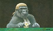 Ape. Great Ape Paintings - Before the bar... by Will Bullas