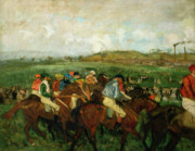 Horse Racing Painting Prints - Before the Departure Print by Edgar Degas
